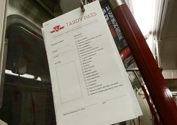 TTC tardy pass Toronto