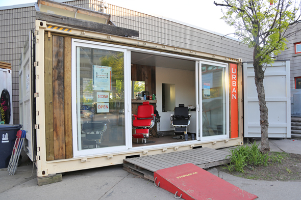 shipping container barber shop