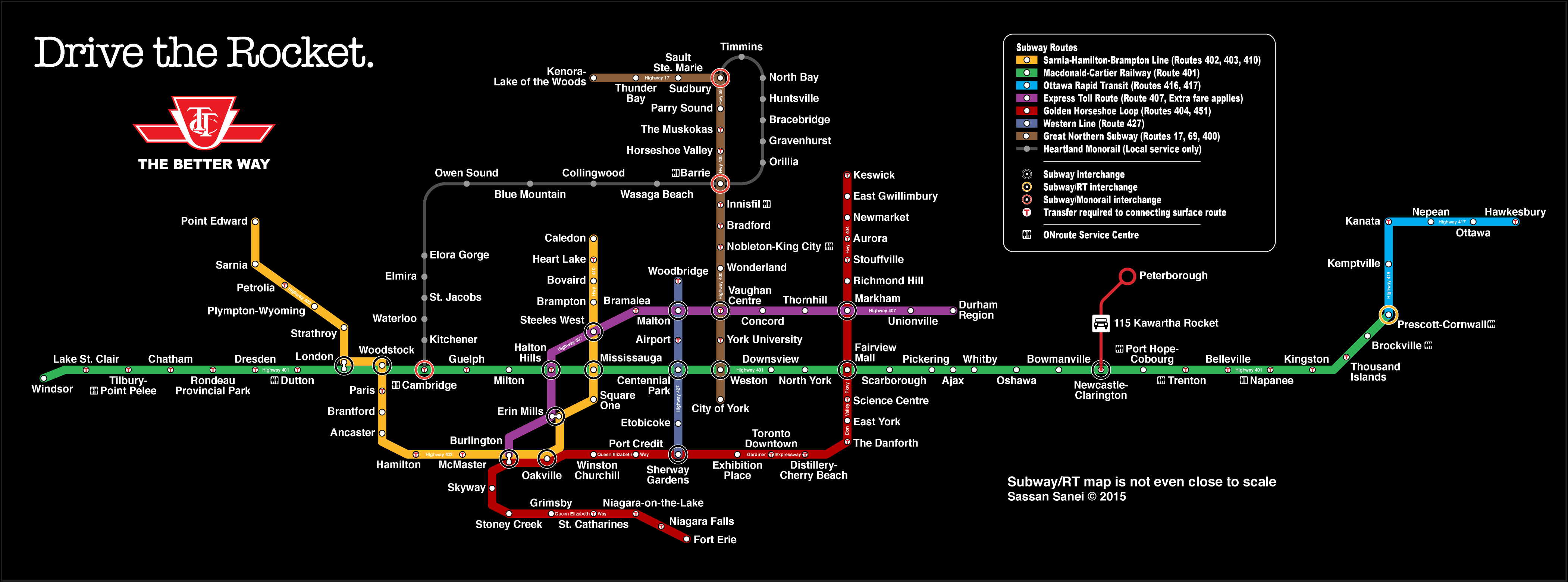 Torontos highways would look like as a TTC map