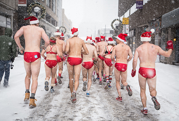 Photo of the Santa Speedo Run by Jesse Milns.