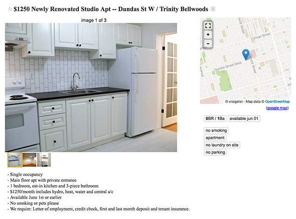 1250 dollar apartment toronto