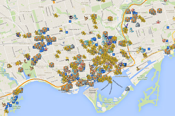Map Of Pokemon Go Locations In Toronto