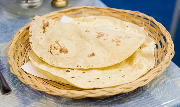 Chapati and poppadum served with the Annapurna Sampler