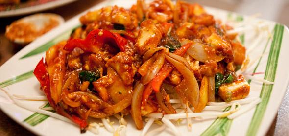 Basil Tofu with Mango on Rice