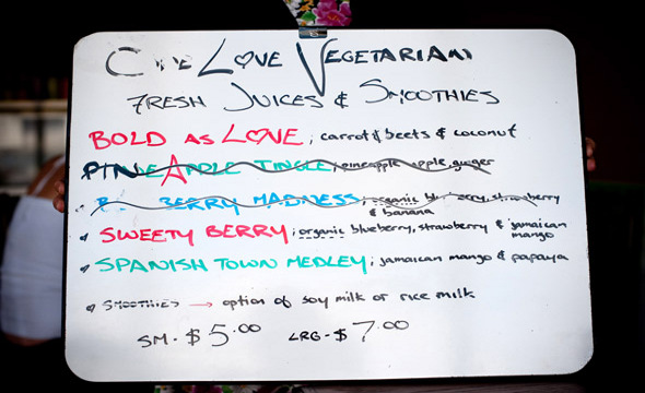 One Love Smoothie Menu