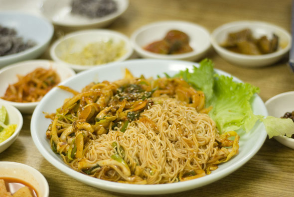 Cuttlefish and noodles at Traditional Korean Restaurant