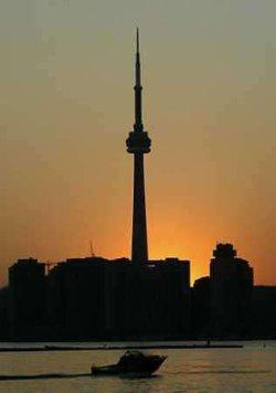 Sunset behind the darkened Tower
