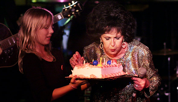 Wanda blows out the candles before her encore.