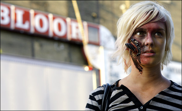 Keri Anderson, 18, is a film student at Humber College doing a documentary on zombie walks.
