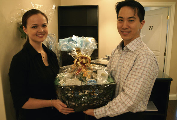 Nguyen and Chiang ready the gift baskets