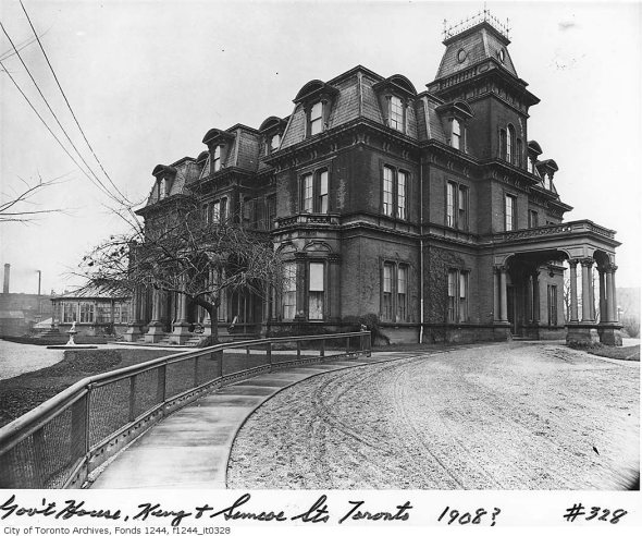 Government House, formerly at the corner of King and Simcoe