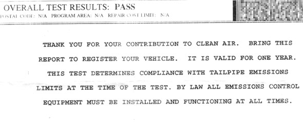 Ontario Drive Clean emissions test