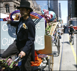 Earth Day March with Shamez Amlani in pedicab in Toronto
