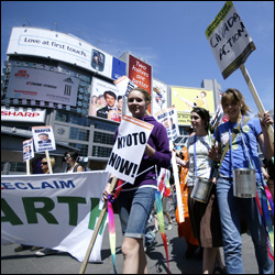 Earth Day March in Yonge-Dundas Square in Toronto