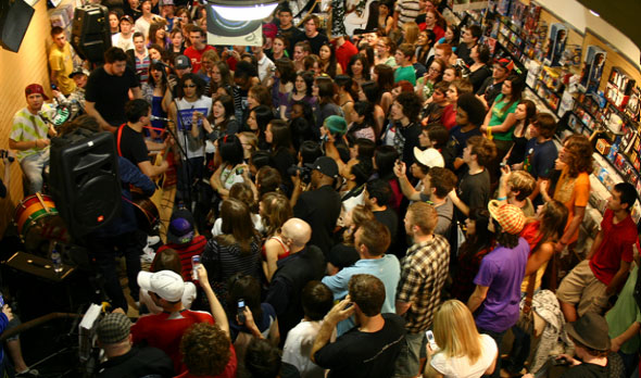 The crowd at Illscarlett's Record Store Day performance