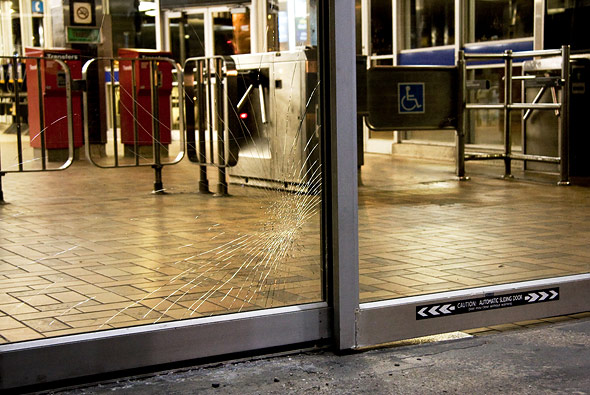 Windows of Spadina Station shattered by commuter anger.