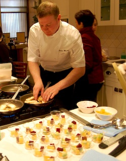 Chef Gordon Mackie cooking at a Sante wine tasting