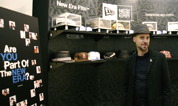 New Era Cap display at the Rockstar Hotel pre-MMVA party at The Gladstone Hotel in Toronto