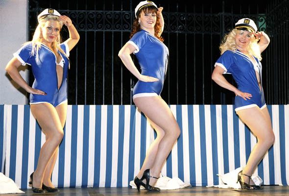 Les Coquettes liven up the Hello Sailor party with their burlesque show at the Rethink Breast Cancer fundraiser