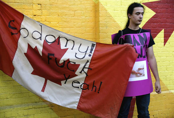 Toronto Counter-protest to Phelps in Canada, protesting Summerworks play