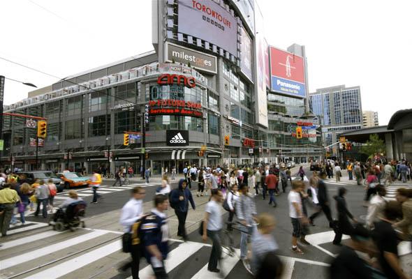 Scramble pedestrian crossing at Yonge and Dundas in Toronto