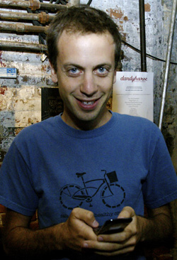 Dave Meslin at the launch party of Dandyhorse magazine at Cinecycle in Toronto