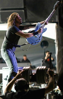 Dave Grohl of Foo Fighters on stage at Virgin Music Festival in Toronto