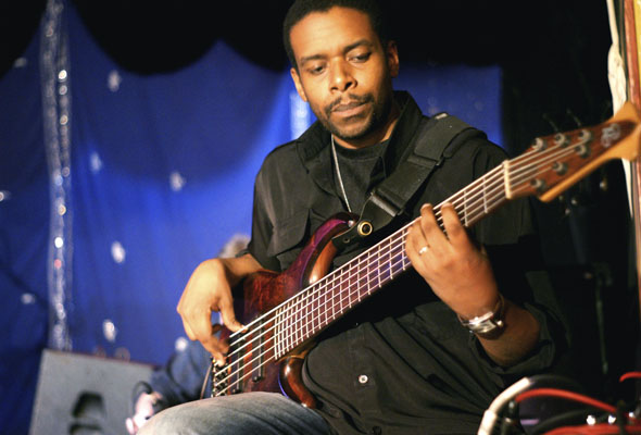 Bassist Rich Brown performs with Autorickshaw at Lula Lounge in Toronto