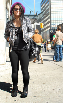 Leggings and leopard-print jacket