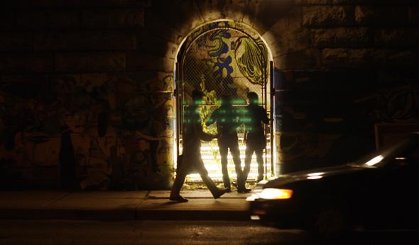 Michal Maciej Bartosik's Bohemian Grotto installation under the Dufferin bridge in Toronto during the Queen West Art Crawl