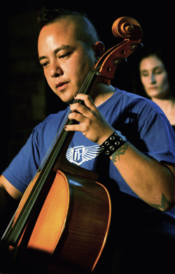 Cellist Felix Deak at the CD release concert of I Furiosi at The Gladstone Hotel in Toronto
