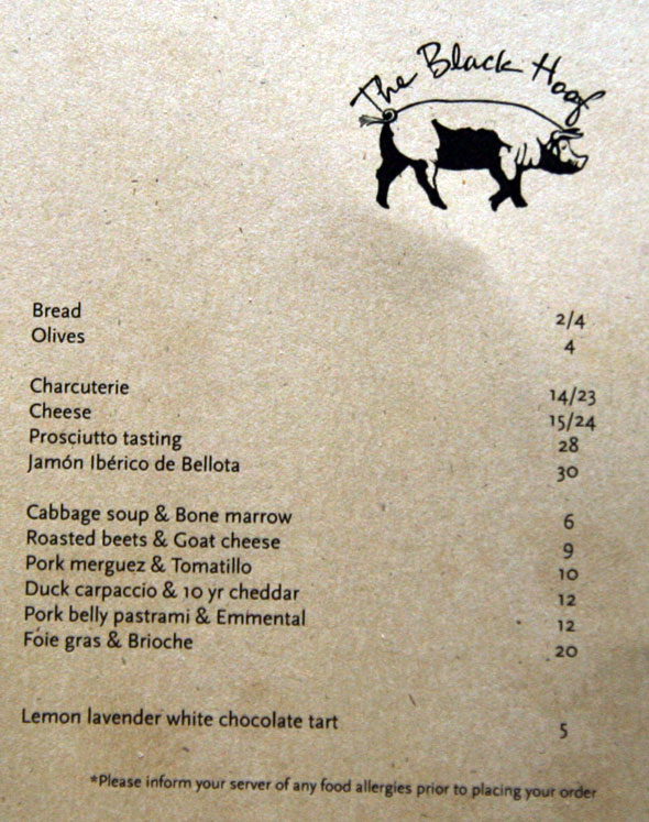 Black Hoof Menu