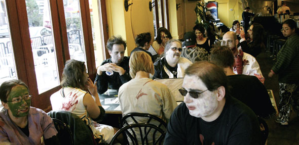Toronto Zombie Walk 2008 stops for a bite in Mel's Delicatessen