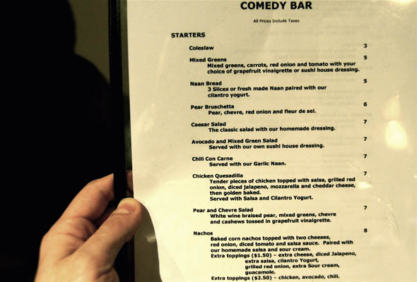 Menu at The Comedy Bar in Toronto