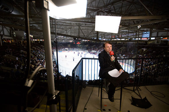 Roger Lajoie at Iceland Arena during start of St. Michael's Majors OHL hockey game