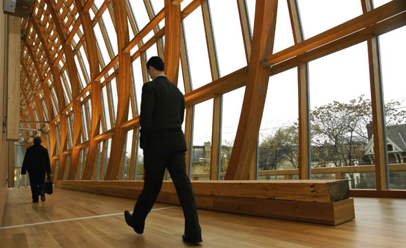 The New Art Gallery of Ontario (AGO) opened with wide open spaces, designed by Frank Gehry