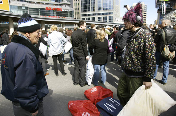 The pillow fight in Yonge-Dundas Square in Toronto 2009