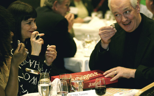 Dione Taylor, Jeanne Beker and Colin Mochrie play Scrabble