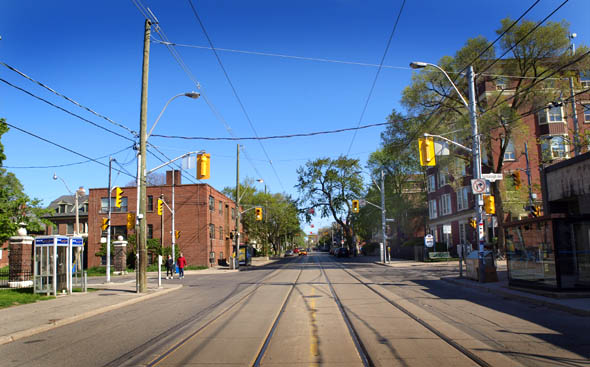 The intersection of Roncesvalles, High Park Boulevard and Fermanagh Avenue, today