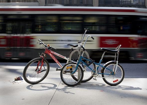 Toronto Bikes and a TTC Streetcar