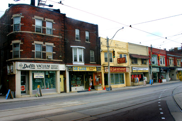 Roncesvalles and Dundas, west side, dressed for Hairspray filming, 2006.