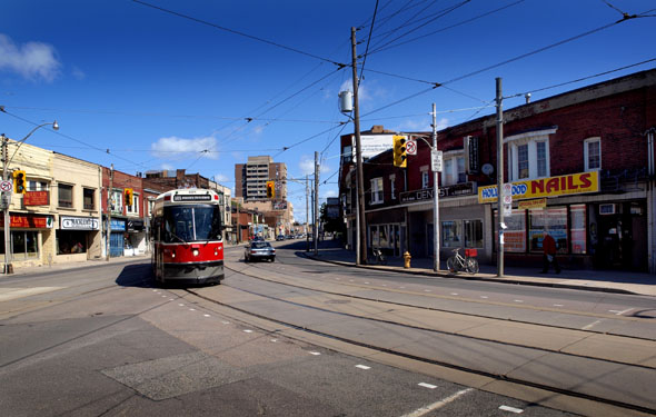 Roncesvalles and Dundas, looking north, today.