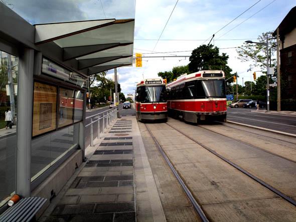 Streetcar stop at St. Clair and Spadina