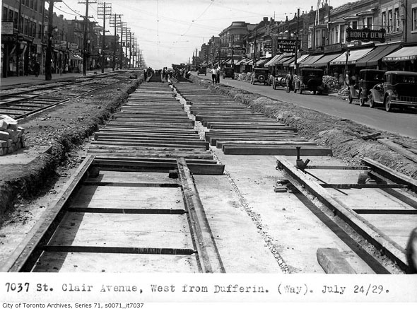 Construction at St. Clair and Dufferin in 1929