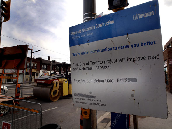 Construction sign at St. Clair and Bathurst