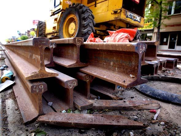 A pile of rails, St. Clair LRT construction