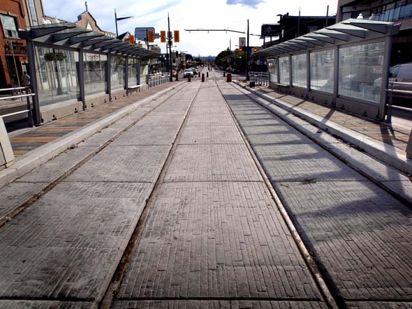 Empty LRT stop on St. Clair Avenue