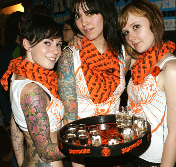 Jaegermeister shooter girls at the NXNE Opening Night Party
