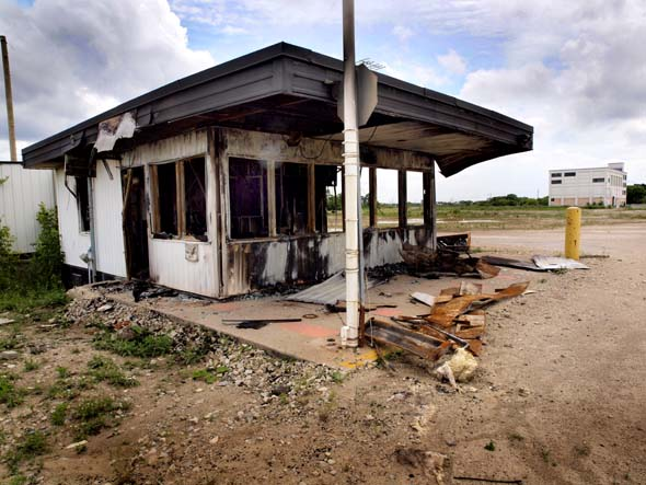 Burned-out security checkpoint, Kodak lands
