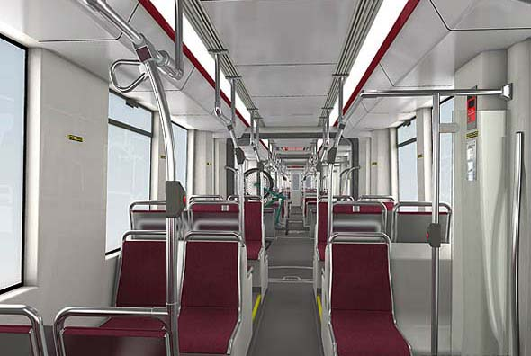 Interior of the TTC's Bombardier Streetcars